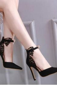 Stylish Lace Butterfly Pointed Toe High Heels Shoes