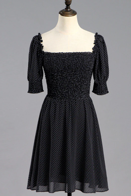 Vintage Puff Sleeve Black Summer Dress
