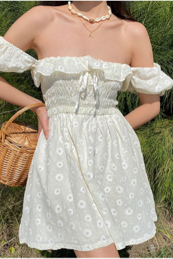 Puff Sleeve Ruffled Daisy Embroidered Summer Dress