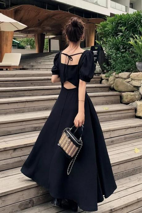 Gorgeous Black Tie Back Maxi Dress