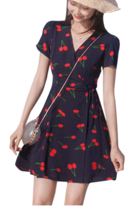 Casual Short Cherry Print Boho Vintage Dress