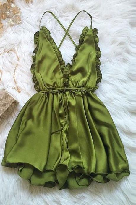 Sexy Ruffled Backless Romper