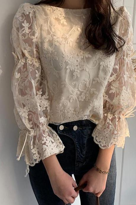 Elegant Flare Sleeve Embroidered Lace Floral Blouse