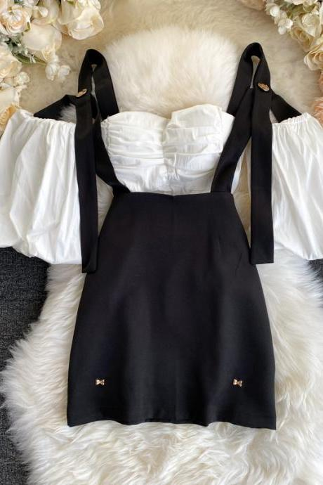 Cute Black and White Top and Skirt Set