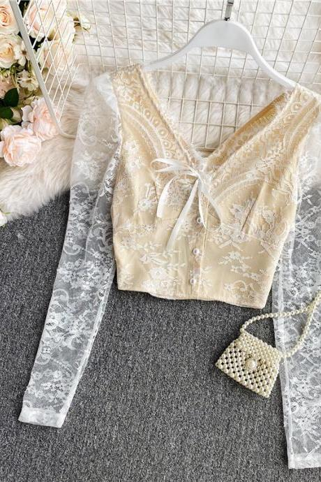 Beautiful Long Sleeve Lace Mesh Fashion Blouse
