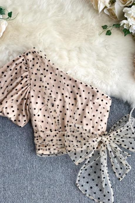 Chic One Shoulder Polka dot Print Mesh Blouse