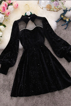 Elegant Sequins Velvet Mesh Long Sleeve Party Dress