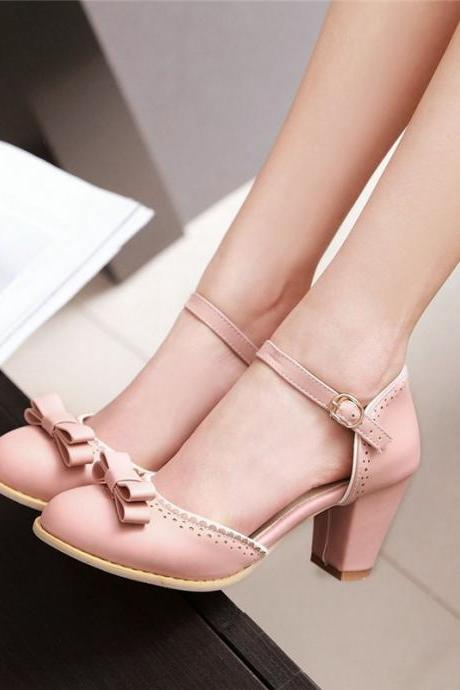 Cute Chunky Heel Pink Shoes with Bow