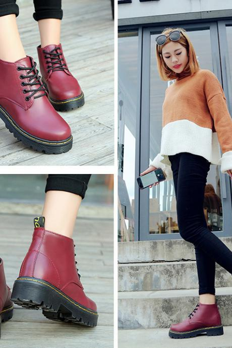 Autumn and Winter Round Toe Chunky Heel Wine Red Ankle Boots