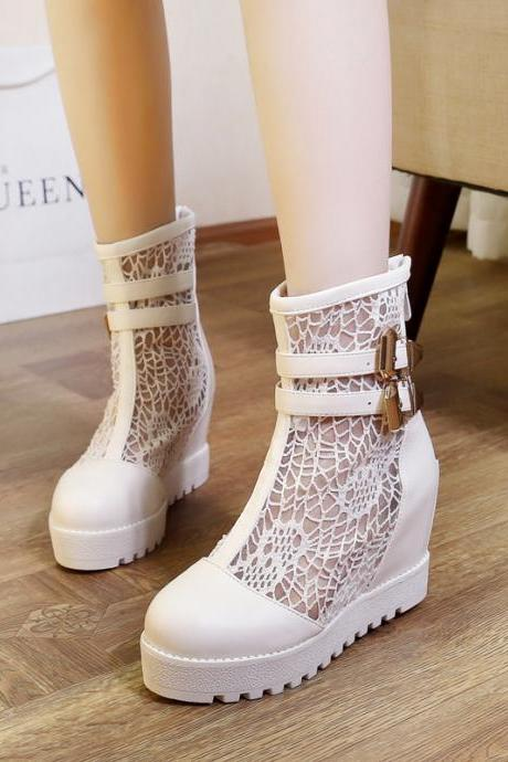 Beautiful White Wedge Boots with Lace Detail