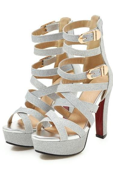 Classy Cross Strap Silver Fashion Shoes