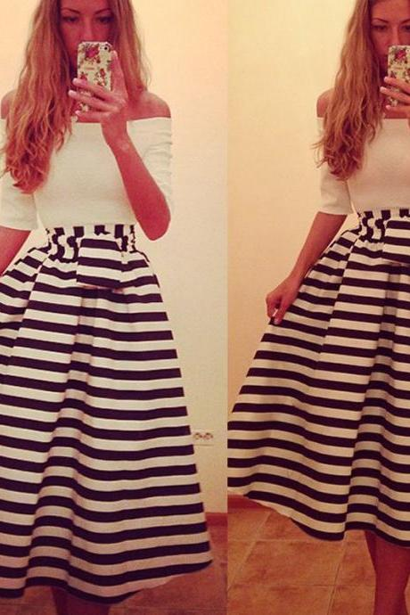 Adorable Off the Shoulder Stripe Dress