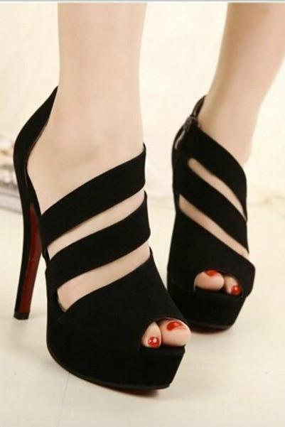Black Cute Out Design Red Bottom High Heel Sandals