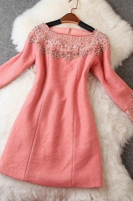 Classy Long Sleeve Beaded Dress