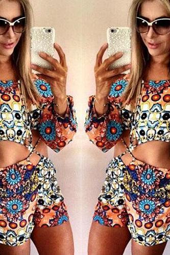 Long Sleeve Floral Jumpsuit