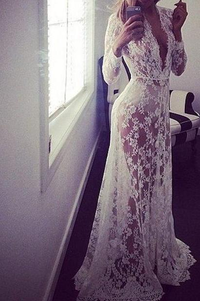 Deep V Neck Long Sleeve Lace Dress