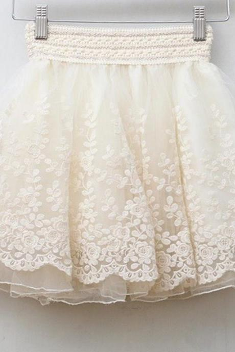 Cute Organza and Lace Skirt
