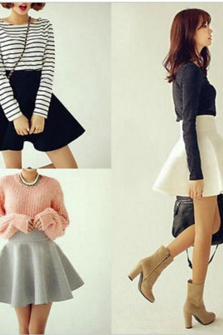 Cute High Waist Flared Skirts