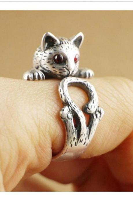 Cat Animal Ring with Red Jewel Eyes Jewellery - Silver / Black / Gold
