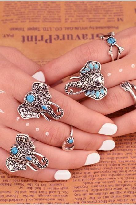 6 Pieces Bohemian Ring Set