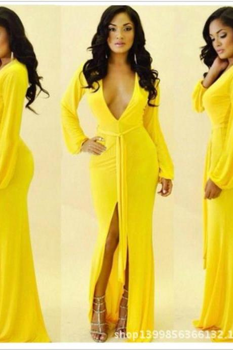 Sexy V Neck Long Sleeve Yellow Dress