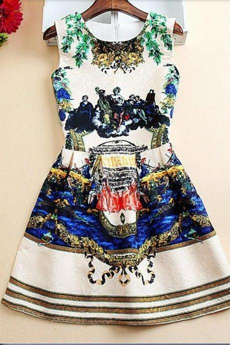 Beautiful Vintage Inspired Sleeveless Printed Dress