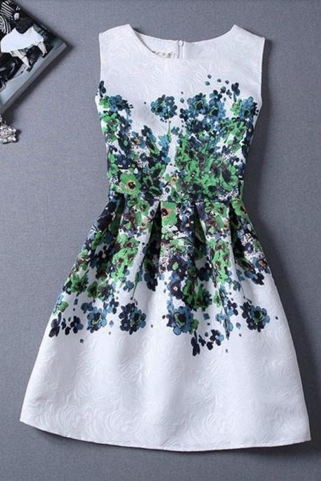 Vintage Design Floral White Dress