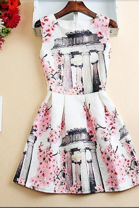 Cherry Blossoms A Line Dress