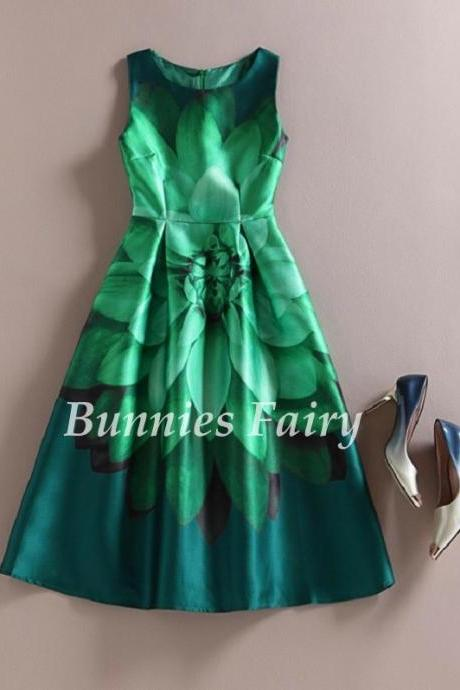 Elegant Green Lotus Dress