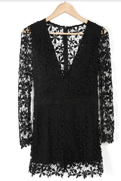 V-Neck Black And White Lace Jumpsuits