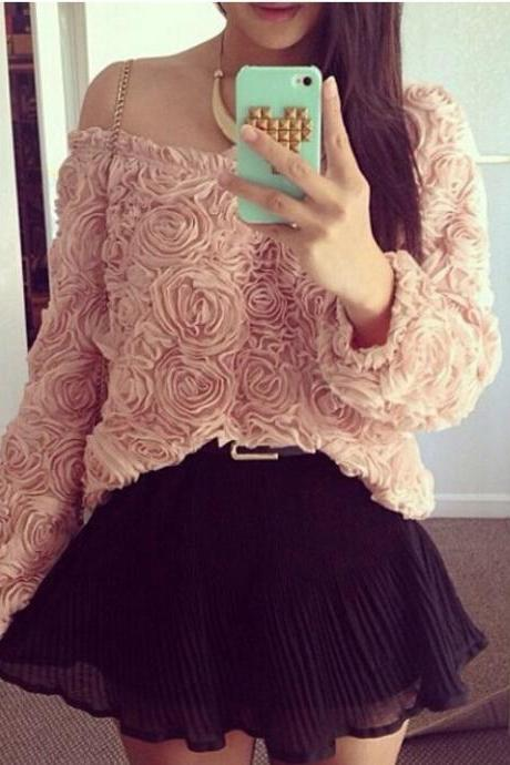 Beautiful Rose Flower Pullover Chiffon Blouse