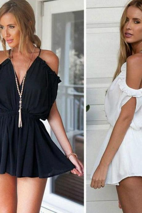 Off Shoulder Romper in Black and White