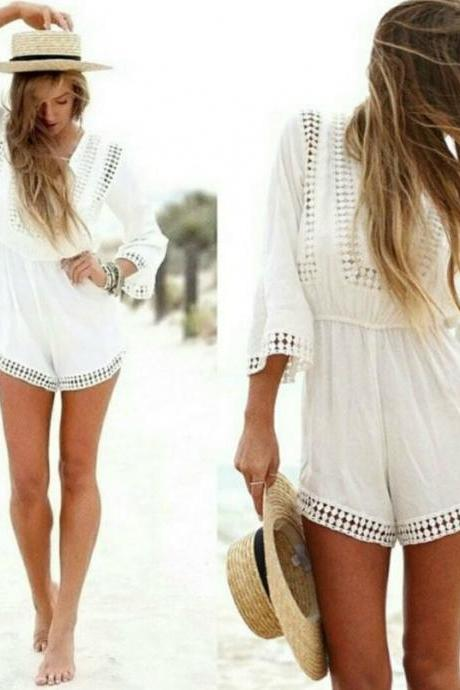 V Neck Boho White Jumpsuit