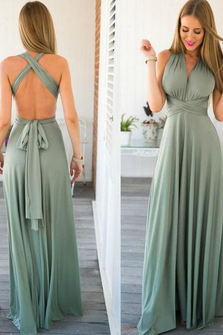 Sexy Green Long Goddess Dress