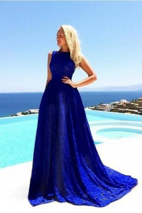 Royal Blue Lace Evening Dress