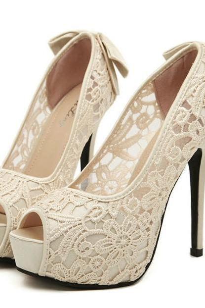 Peep Toe Sexy Lace Design High heel Fashion Shoes