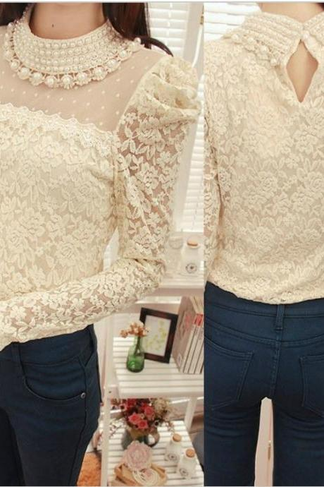 Chic Pearl Beaded Lace Blouse