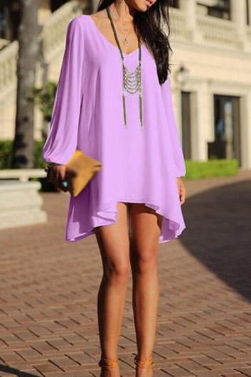 Purple Chiffon Bohemian Dress