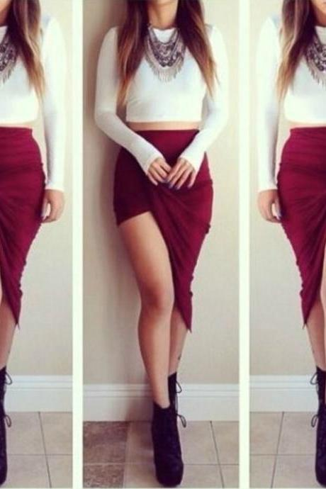 Red Irregular Hem Skirt