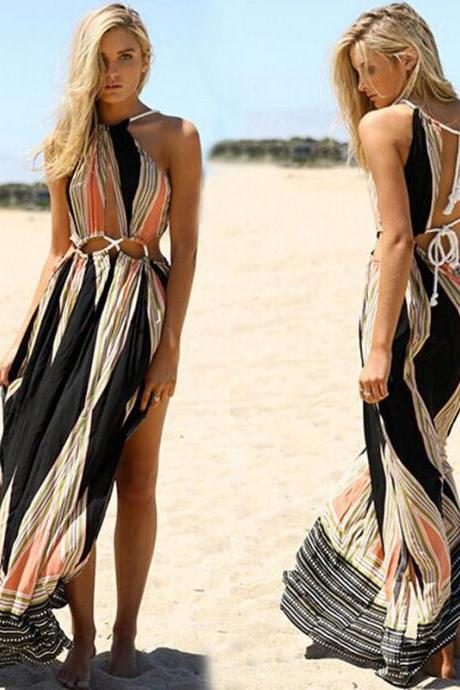 Bohemian V Neck Printed Sexy Dress
