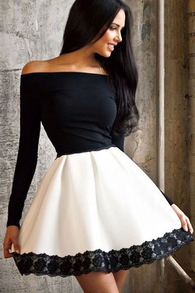 Classy Off Shoulder Dress with Lace Detail
