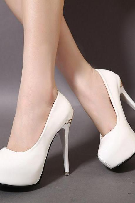 Classy Patent Leather High Heels Shoes