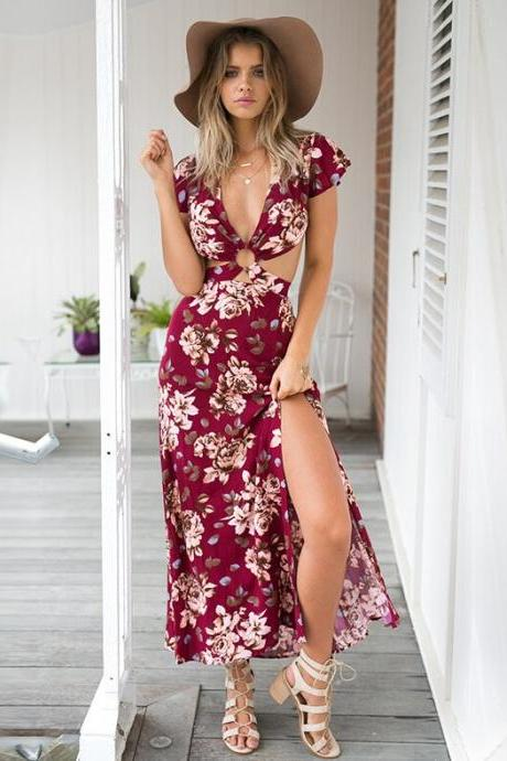 V Neck Sexy Backless Floral Print Maxi Dress