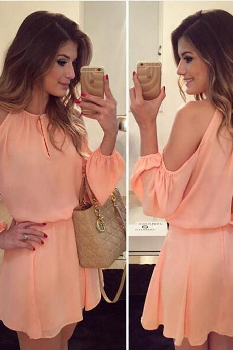 Stylish Long Sleeve Chiffon Dress