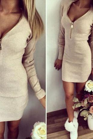 Sexy Zip up Long Sleeve Dress
