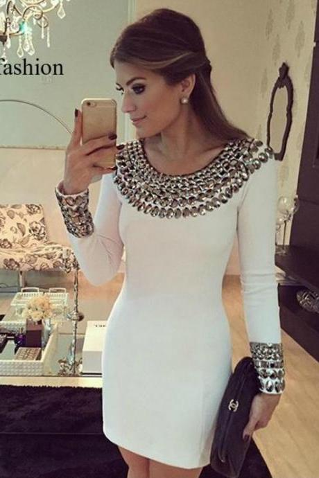 White Rivets Long Sleeve Dress