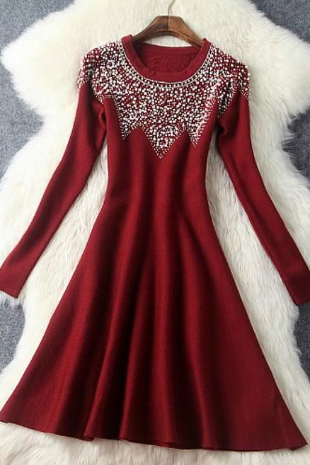 Wine Red Classy Pearl Beaded Long Sleeve Autumn and Winter Party Dress