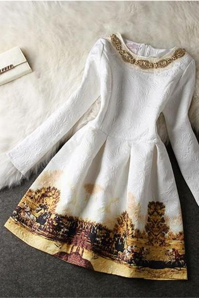 Classy Long Sleeve Beaded White Dress