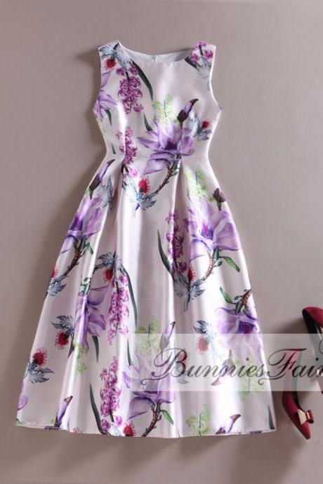 Retro Floral Sleeveless Party Dress
