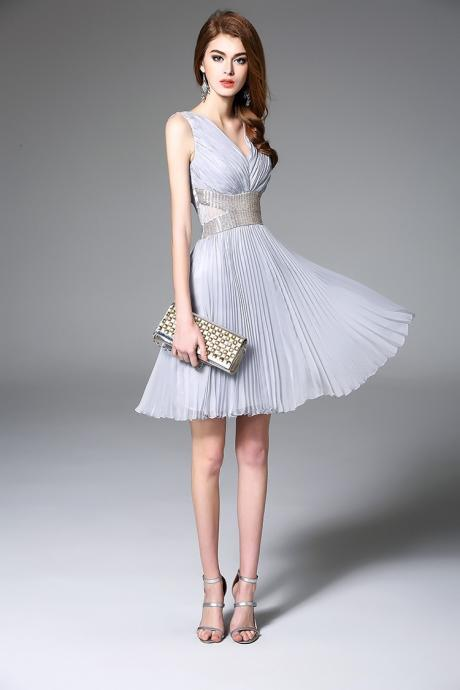 Sexy Pleated Sleeveless Evening Dress